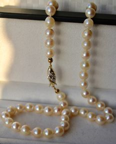 Pearl necklace with see/salty shiny pearls  approx. 7 mm and 14 kt gold clasp with small diamonds.