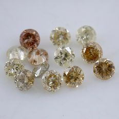 13 Diamonds - 0.35 ct. Mix Color - Round Brilliant - *** NO RESERVE ***