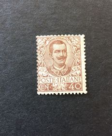 Kingdom of Italy, 1901 - Floral series - 40 cent. Brown