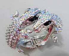 "Signed KENNET JAY LANE - Spectacular double Alligator clamper bracelet with Aurora Borealis ""Couture Collection"""