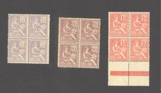 France 1900 – Block of 4 series, Mouchon type, including 1 block signed Calves – Yvert No. 112, 113, 115