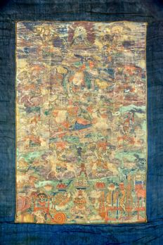 Thangka With King Gesar and Deities -  China / Tibet -  18th Century