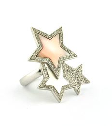 (99) Diamonds (total 1.00ct GH/VS2-SI) set on 18K White Gold and Mother of Pearl Stars Rockstar Ring - E.U Size 50/51 resizable
