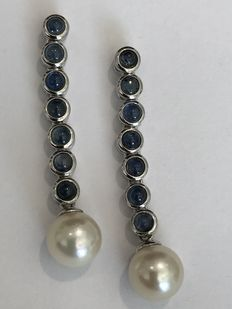 18 kt gold earrings with sapphires and pearls