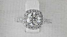 1.58 ct round diamond ring made of 14 kt gold - size 6