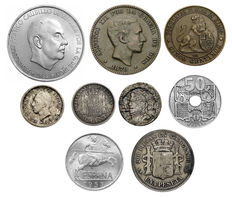 Spain – Lot of assorted old  coins - some silver (9 coins)