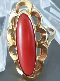 Gold, large, red coral ring.