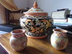 Caltagirone's cookie jar and two ancient jars