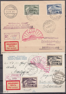 Soviet Union 1931 – letter and card transported by the Malygin icebreaker, red marking: Zeppelin Polarfahrt airship – Michel 402B / 405B