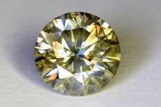 Diamant - 1.29 ct - Fancy Greenish Yellow