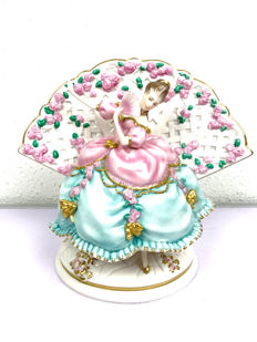 "Franklin Mint - ""Princess Caroline of Wales"" - Caroline and the Poetry of the Fan - Hand painted - Limited Edition - 24 karat finishing"
