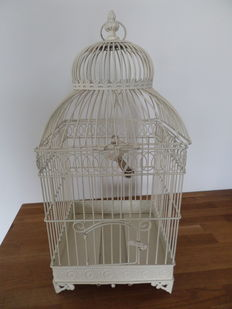 Brocante white birdcage - in metal