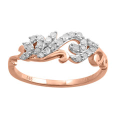 14kt rose gold dress ring with round diamonds. 0.24ct total weight Size Q (free resizing in Antwerp. No reserve price