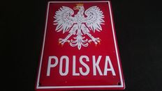 Rare Polish border sign - enamel sign, end of XX century