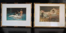 Two old erotic lithographs, framed - the Boekenworm 1906 and Nonchalance 1908 - Hermann Fenner - Behmer