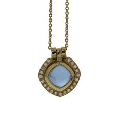 14 kt gold pendant with blue topaz and diamond with necklace Dolce by Saddal, length necklace 42 cm