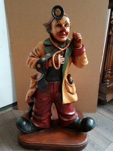 Vintage clown portrayed as doctor * large image * 80 cm high