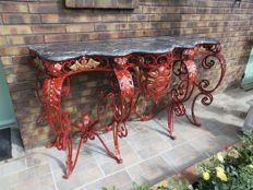 wrought iron and marble console, 1950s
