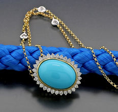 Turquoise brilliant necklace, 1 beautiful oval turquoise, 750 yellow gold / white gold -- no reserve price --