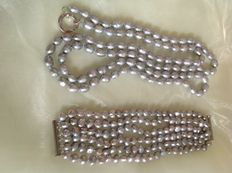 1.25 m long, cultured silver grey freshwater pearl necklace, and 20 cm long, 6-strand  cultured freshwater pearl bracelet