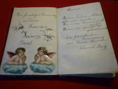 Personalia; Lot with 6 poetry albums and a letter binder - around 1870/1969