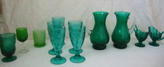Blue and Emerald Glass Set - Portugal Ca. 1940