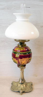 Silver-plated oil lamp with coloured pottery and glass oil reservoir with opaline glass shade, 1st half of 20th century, France