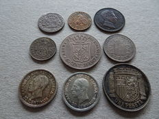 Spain, collection of  9 old coins (period 1803 – 1933), including 7 silver coins.