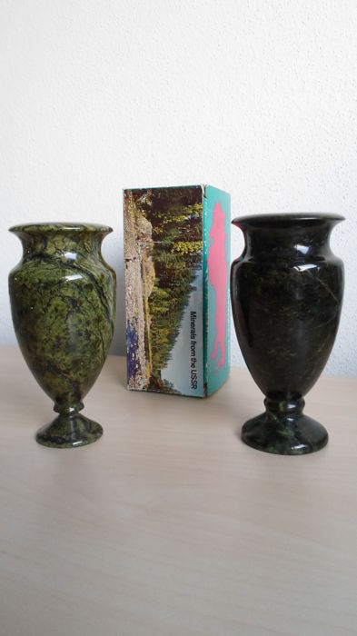 Set of 2 vases of green serpentine stone.