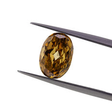 Natural fancy deep Brown-yellow Diamond 2.00 ct oval, GIA