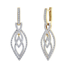 No reserve price, brand new diamond drop earrings set in a 14kt yellow gold cluster setting. 0.76ct total weight, G/H colour and Pique 1 clarity.