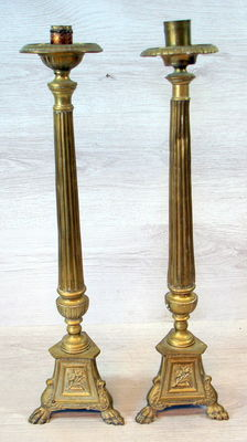 Pair of brass candlesticks, circa 1900
