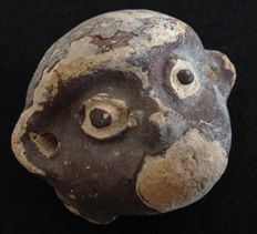 Pre-Columbian pottery head of a monkey - Chancay culture Peru - 7 cm