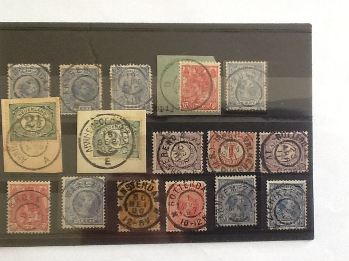 The Netherlands - Batch of large round cancellations on 25 stock cards