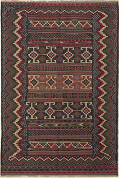 Handwoven/kilim FARS / 235 x 155 / SOUTH IRAN / 30 to 50 years old