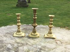 1 set copper candlesticks and 1 single candlestick England 1840/1860