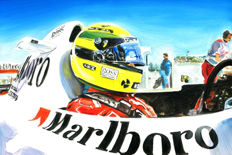 Ayrton Senna McLaren Honda Helmet Cockpit F1 Car ORIGINAL Oil Painting on Canvas hand-made by Artist Andrea Del Pesco + COA.