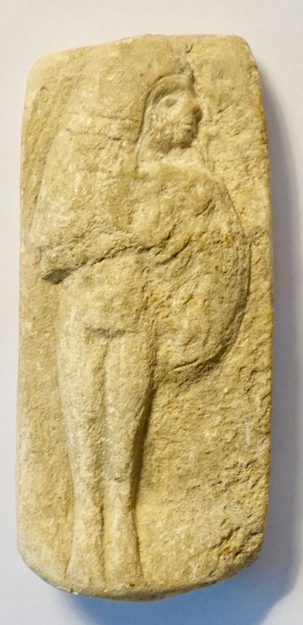 Small relief, representing a young girl breast feeding a child - Egypt - 11 cm