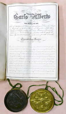 Document of the Order of Saints Maurice and Lazarus with signature of Charles Albert of Savoy, King of Sardinia - 1840