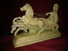 Art and sculpture in marfinite, the 20's, Roman Empire, elite troll warrior and horses