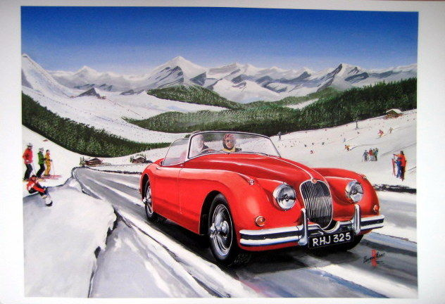 Fine Art : Jaguar XK150 in the Alps