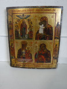 Quadripartite icon - mother of God - Russia - end of the 19th century