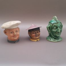 Fate of three various figural tobacco jars-Middle 20th century