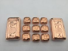2 x 10 oz. + 9 x 1 oz. 999 fine copper bar Güldengossa Castle