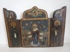 Mother of God of Joy - triptych icon - Russia - late 19th/early 20th century