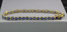 Sapphire bracelet, in total 7.70 ct, 750 / 18 kt yellow gold --- no reserve price! ---