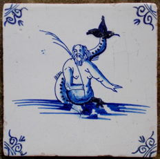 Beautiful tile with a merman