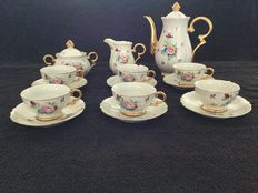 Porcelain Mocha coffee set with gold accents and flowers