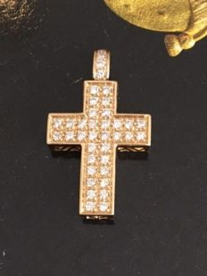 14 kt yellow gold cross pendant with approx. 0.38 ct diamonds in total - Size of the pendant is 2.4 cm * 1.3 cm