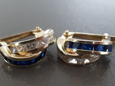 14 kt gold earrings with blue & white stones - 16 mm